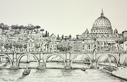 Rome (sketch) by Phillip Bissell - Original Drawing on Mounted Paper sized 17x11 inches. Available from Whitewall Galleries